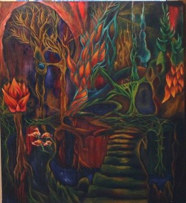 """Alien Garden, Oil on canvas 30""""x30"""" 2010"""