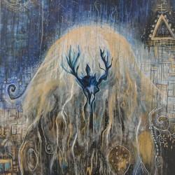Cosmic Jellyfish Acrylic on Wood 2017