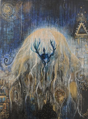 Cosmic Jellyfish, Acrylic on Wood 2017