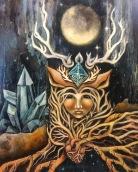 deer woman, oil on panel, 2019